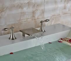 brushed finish long dual handle waterfall deck mount brushed bathroom sink faucet mixer tap