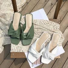 <b>Vintage Square Toe Bowtie</b> Flat Sandals Women Open Toe Solid ...