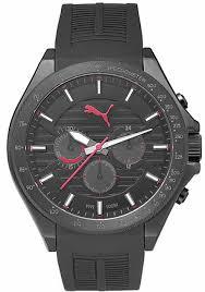 men s puma forward black and red chronograph silicone watch men s puma forward black and red chronograph silicone watch pu104021001