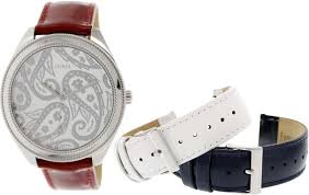 this og watch is the perfect blend of elegance and edge features a gold tone logo dial studded details and red croco embossed leather cuff