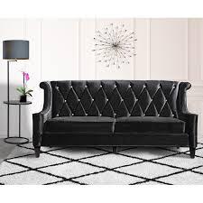 modern black sofas. Exellent Modern Armen Living Barrister Modern Black Velvet Sofa With Crystal Buttons With Sofas E