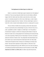 narrative essay an unforgettable experience english  5 pages signifcance of a father figure in a child s life