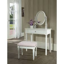 Princess Bedroom Vanity Set with Mirror and Bench, White