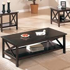 3 piece dark brown finish living room table set coffee ikea