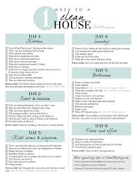 printable checklist 1 week schedule to a clean and organized house in 1 hour a