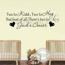twins personalised nursery wall stickers two to love bedroom wall sticker quote baby boys girls wall decor decals on personalised baby boy wall art with twins personalised nursery wall stickers two to love bedroom wall