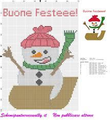 schema punto croce Natalizio con pupazzo di neve e buone feste - Schemi punto  croce gratis di Wally