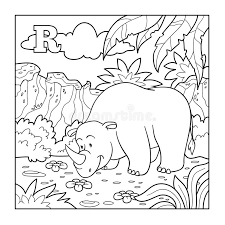 coloring book rhino colorless alphabet for children letter r stock vector