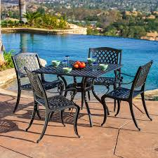 iron patio furniture dining sets. Brilliant Furniture Best Selling Home Decor Hallandale 5Piece Black Metal Frame Patio Dining  Set To Iron Furniture Sets
