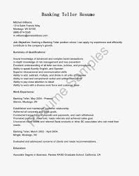 Sample Bank Teller Resumes Resume Objective For With No Exper Sevte