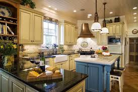 kitchen country french cabinets natural stone fireplace mantel beautiful shade pendant lamp beige wooden painted