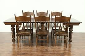 square dining table for 4. Oak Antique 1900 Square Dining Table, 4 Leaves, 5 Spiral Legs Table For U