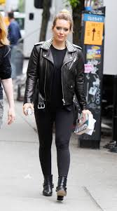 hilary duff in studded leather jacket new york 05 23 2018