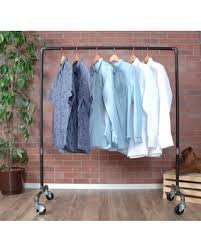 Clothes Rack Rolling Clothing Rack Garment Rack Clothing Storage Industrial  Pipe Rolling Clothing Rack FREE SHIPPING