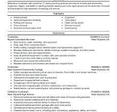 Sample Janitorial Resumes Janitor Resume Duties Cover Letter Weekend