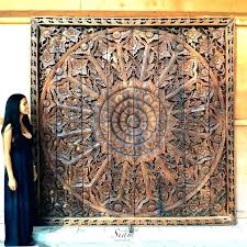 carved wooden headboard hand large relief carving teak wood wall panel moroccan woo