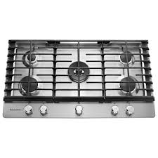 kitchenaid 36 in gas cooktop in stainless steel with 5 burners including a professional dual