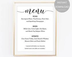 Wedding Bar Menu Templates Free Rome Fontanacountryinn Com