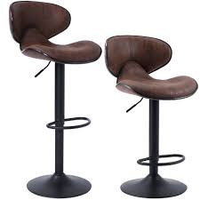 com superjare set of 2 adjustable bar stools swivel barstool chairs with back pub kitchen counter height retro brown kitchen dining
