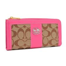 Coach Legacy Accordion Zip In Signature Large Pink Wallets FCQ