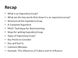 literature essay lecture    recap what is an expository essay    recap what is an expository essay  what are the key words that show it is