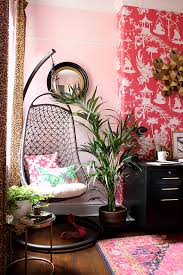 design home office space worthy. Blush Pink And Black Office With Hanging Chair Design Home Space Worthy