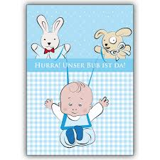Süße Babykarte Junge Zur Geburt Mit Stofftieren Hurra