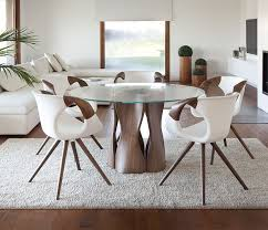 the 217 glass dining table shown with a round table top