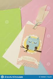 Words For Congratulations Paper Card In Coral Color And An Owl In The Center With