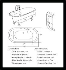 clawfoot tub dimensions. Clawfoot Tub Dimensions Inch Acrylic Double Ended Bathtub Chart