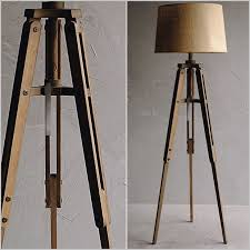 wooden tripod floor lamp with grey shade get wood tripod floor lamp with burlap shade
