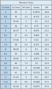 Inc Shoes Size Chart Sizing Chart