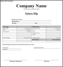 Office Salary Salary Slip Template Word Excel Formats Ms Office Templates