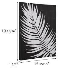 black white palm leaf canvas wall