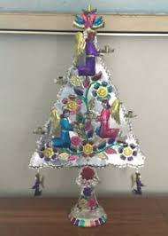 Details Zu Vintage Mexico Mexican Folk Art Punched Painted Tin Christmas Tree 24 7 Candle