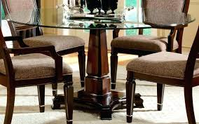 impressive glass top round dining table with wood base set impressive glass top round dining table with wood base set