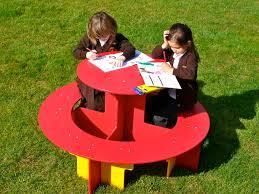 children s round recycled plastic picnic table rainbow range