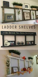 ladder shelves, so perfect for farmhouse, rustic, primitive style home  decorating. I like the top one the best for bedroom.
