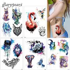 glaryyears 19 designs 1 sheet colored drawing body tattoo flamingo cute cat art temporary makeup tattoo sticker fashion p series tattoo jewelry tattoo