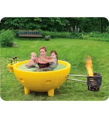 alfi brand firehottub ye round fire burning portable outdoor yellow fiberglass soaking hot tub