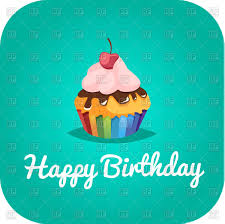 Happy Birthday Card With Cupcake Vector Image Of Food And Beverages