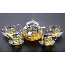 glass tea set 5pcs cup plate set 11street malaysia drinkware glassware