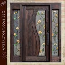 tulip stained glass door craftsman