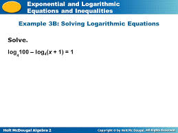 holt mcdougal algebra 2 exponential and logarithmic equations and inequalities solve