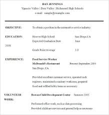 Job Resume Examples For Highschool Students 70 Images High