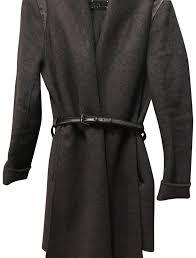 mackage women dark grey wool d belted trench coat mid length 22399024 unyejgp