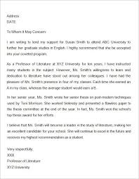 What To Include In A Recommendation Letter For Grad School Sample Letter Of Recommendation For Graduate School From