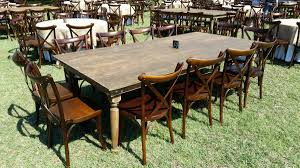 12ft king farm table with crossback chairs