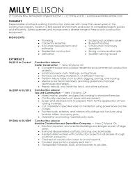 Resume Template For Construction Worker – Letter Resume Source