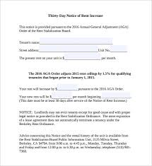 Rent Increase Notification Letter Sample Rent Increase Notice 10 Free Documents In Pdf Word